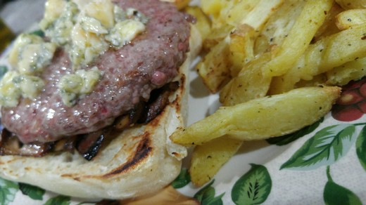 Stilton and Sauteed Mushroom Burger with Truffle Garlic Fries